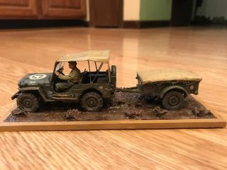 Built 1/35 Willies Jeep With Covered Trailer 34th Id Italy
