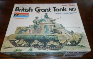Monogram 7535 British Grant Tank M3 (armor Series) 1/32 Scale Unbuilt 1973