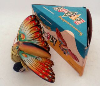 China Shanghai Ms 504 Somersaulting Butterfly Wind - Up Tin Toy -