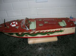 Toy Wood Boat 18 Inch Dragon Ito Battery Operated K&o Wooden Boat Vintage Boat