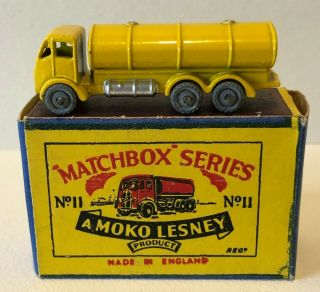 Orig Matchbox Series 1950's Moko Lesney No 11a Yellow Erf Road Tanker Orig Box