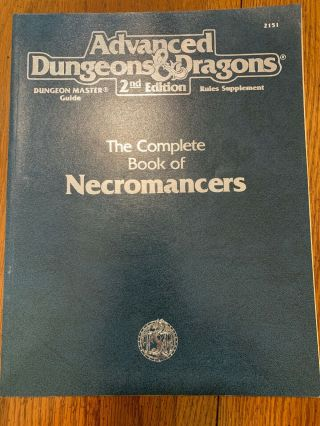 The Complete Book Of Necromancers Ad&d 2nd Ed 1995 Tsr 2151 Dungeons & Dragons