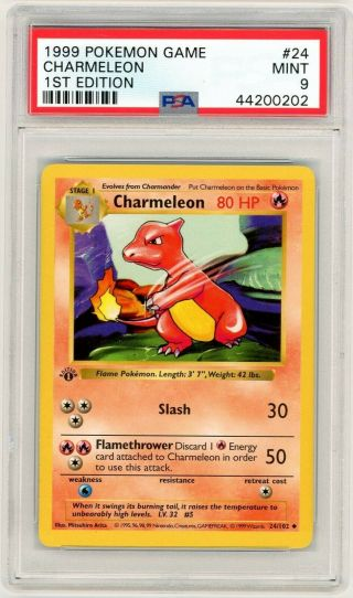 Pokemon 1st Edition Charmeleon Psa 9 - 1st Edition Shadowless Base 24/102