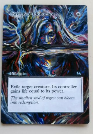 Altered Art Swords To Plowshares Hand Painted Mtg Magic The Gathering