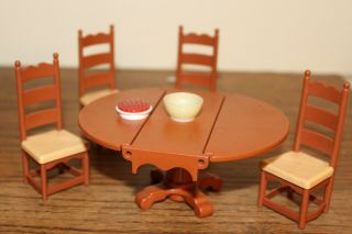 Vintage Fisher Price Dollhouse Dining Set - Table And Four Chairs