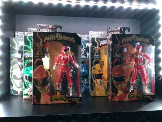 Mighty Morphin Power Rangers Legacy Complete Set Of 8 Red,  Green,  White Bandai