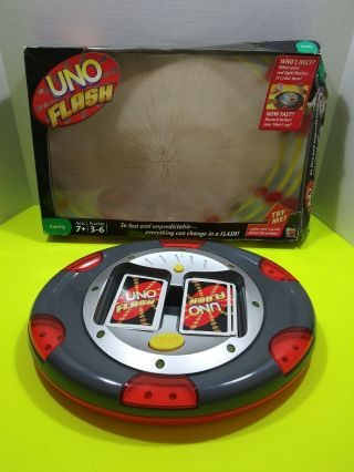 Uno Flash Electronic Mattel Sounds Lights Game Instructions Box Cards