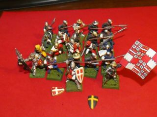 25mm: Metal Medieval Halbardiers / Spearmen X22