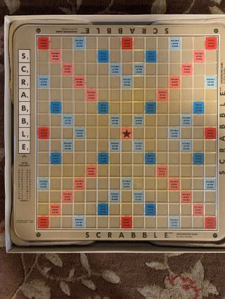 Scrabble 1989 Deluxe Edition Turntable Rotating Board Game 100 Complete