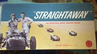 "Vintage 1961 "" Straightaway - An Exciting Auto Racing Game "" By Selchow & Righter"