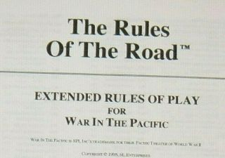 """ The Rules Of The Road "" Extended Rules For Spi "" War In The Pacific "" (ah/gdw)"