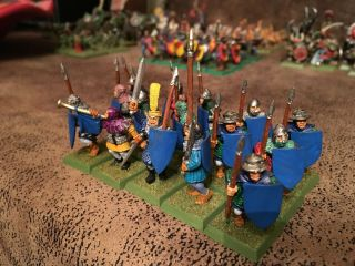 Warhammer Oldhammer Empire Brettonia Peoples Spearmen Men At Arms,  Painted