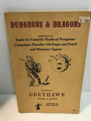 1979 Tsr Dungeons And Dragons Greyhawk Supplement I