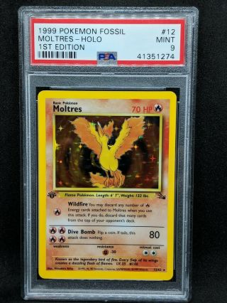 Psa 9 Moltres 1st Edition Holo Fossil 1999 Pokemon Card 12/62