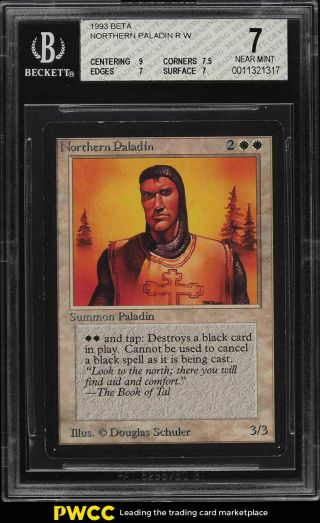 1993 Magic The Gathering Mtg Beta Northern Paladin R W Bgs 7 Nrmt (pwcc)
