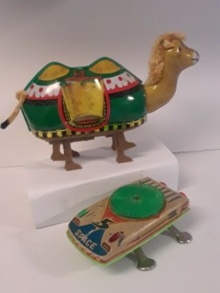 1950 - 1970 Rare Tin Toy Windup Space Ship&flying Saucer Walking Camel=batterys