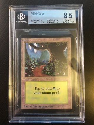 1993 Alpha,  Forest V2,  Land,  Beckett Graded Bgs 8.  5 Nm - Mt,  Quad,  (mtg - Aloha)