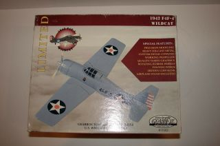 Nib Large Wwii 1942 F4f - 4 Wildcar Die - Cast Airplane & Stand By Gearbox 11503