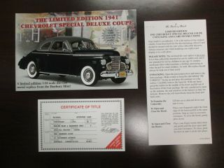 Danbury Paperwork 1941 Chevy Special Deluxe Coupe Le
