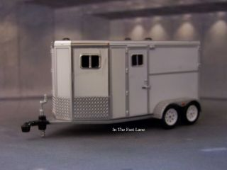 Greenlight Tandem Horse Trailer White 1/64 Scale Collectible Diorama Model