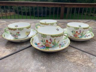Set Of 4 Canton Tea Cups & Saucer 1726 Herend Queen Victoria China Vbo Teacup