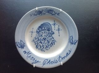 Rowe Pottery Hand Crafted Cambridge Wis Salt - Glazed Blue Merry Christmas