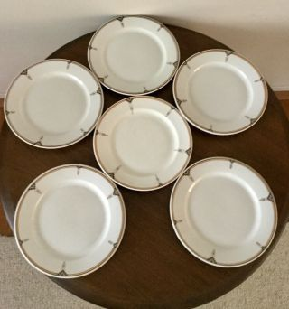 "Vintage Arts And Crafts 9"" Buffalo China 6 Plates Architectural Artist Design"