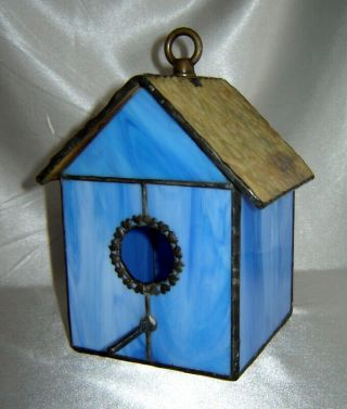 Decorative Blue / Brown Stained Glass Birdhouse (home / Garden)