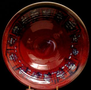 Zappa Pottery Colorado Large Hand Crafted Bowl Blue Red Tan Signed Euc