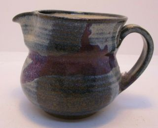 Hand Crafted Studio Art Signed Pottery Pitcher Blue White Purple