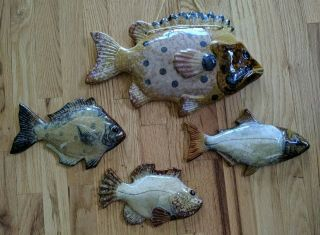Pottery Fish Grouping Hand Crafted