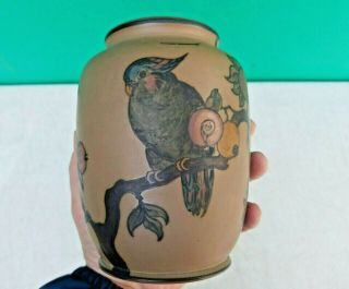 L.  Hjorth Denmark Art Deco Arts Crafts Scandinavian Pottery Ceramic Bird Vase