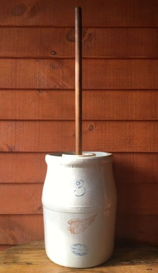 Antique Red Wing Stoneware 3 Gallon Butter Churn Crock