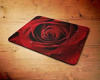Red Rose Water Drops Rubber Mouse Mat Pc Mouse Pad