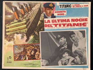 1958 A Night To Remember Titanic Kenneth More Honor Blackman Lobby Card