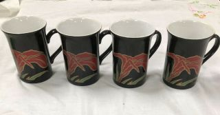 Set Of 4 Staffordshire England Coffee Cups Kiln Craft
