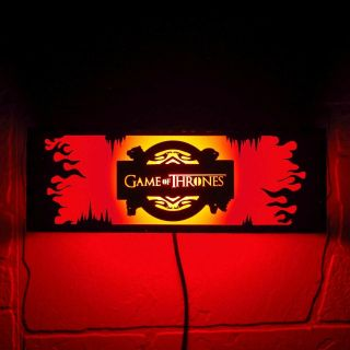 Game Of Thrones Wall Mounted Night Lamp - Fire And Ice - Personalized Wood Gift.