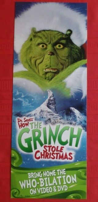 "How The Grinch Stole Christmas Movie Video Dvd Poster 2000 Seuss 23.  25 "" X 8.  75 """