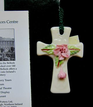 Belleek Cross With Flower Hand Crafted In Ireland Ornament