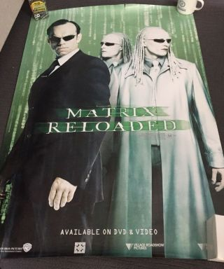 Rare The Matrix Reloaded Movie Poster Dvd Release Twins Agent Smith 27x39