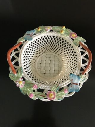 Belleek Pottery Butterfly Basket 2731 Fine Parian China.  Hand Crafted In Ireland