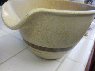 Pottery Craft Usa Mixing Bowl Pour Spout Vintage Brown Speckled Stripe