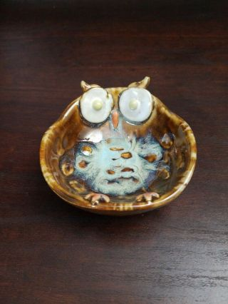 Small Hand Crafted Glazed Owl Bowl