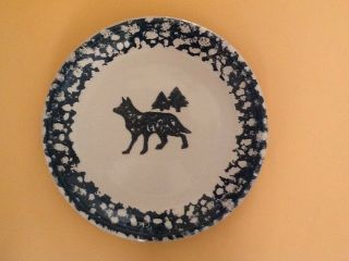 "Tienshan Wolf Folk Craft North Country 10 1/4 "" Dinner Plate Green Sponge Paint"