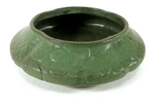 Antique Arts & Crafts Pottery Bowl Or Low Vase Matte Green Glaze Floral Texture