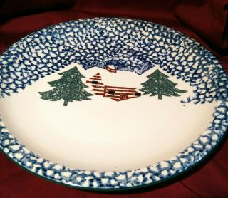 "Folk Craft Cabin In The Snow 12 "" Round Platter By Tienshan No Dots"