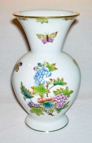 "Herend (queen Victoria) Quality Porcelain 8 "" Footed Vase Hungary"