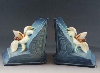 C1940s Roseville Art Pottery Blue Zephyr Lily Book Ends 16 Arts & Crafts Style