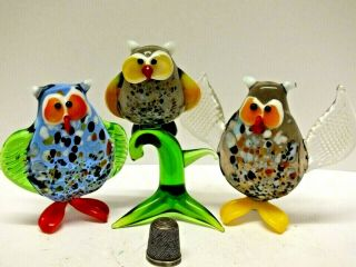 Three Beautifully Hand Crafted Art Glass Owl Figurines/ Ornaments - One Perching