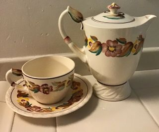 """Vintage Vernon Kilns """"beverly"""" Pansy Small Coffee Pot W/ Cup & Saucer"""